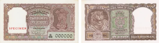 Bust of Tiger facing right on Rs. 2