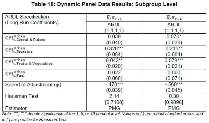 Table 18: Dynamic Panel Data Results: Subgroup Level