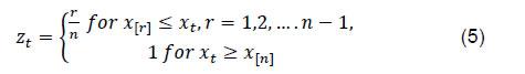 transformed using empirical CDF as